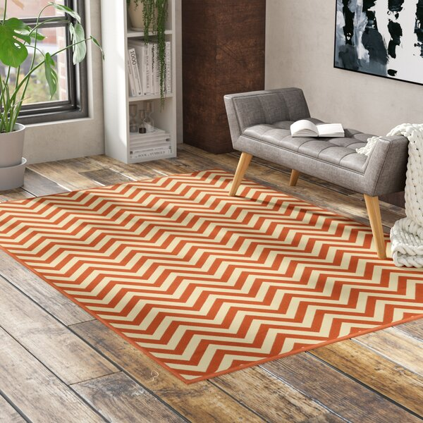 Heath Beige/Orange Indoor/Outdoor Area Rug by Ebern Designs