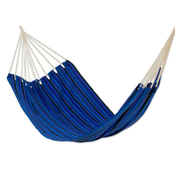 Hand-Woven Fabric Polyester Tree Hammock by Novica