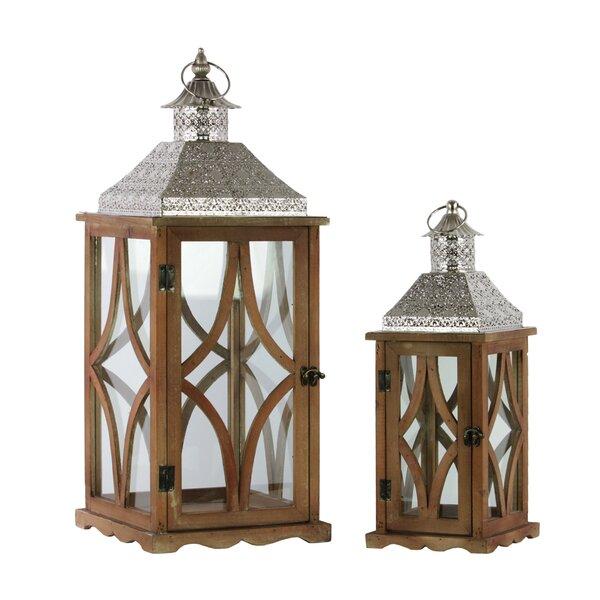 2 Piece Wood Lantern Set by Urban Trends