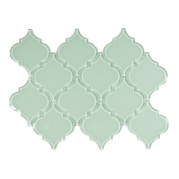 Xenon Arabesque 3 x 3 Glass Mosaic Tile in Surf by CNK Tile