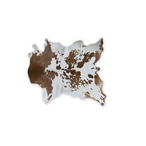 Haney Hand-Woven Cowhide Brown/White Area Rug by Bloomsbury Market