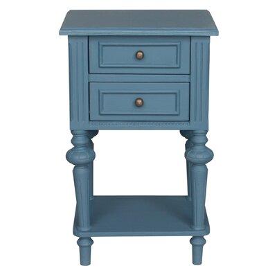 Saire Indoor 2 Drawer End Table Laurel Foundry Modern Farmhouse Table Base Color: Antique Blue, Table Top Color: Antique Blue