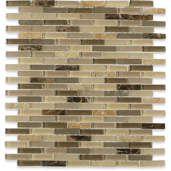 Cleveland 0.5 x 1.5 Glass/Marble Mosaic Tile in Frosted Brown/Dark Brown Stone/ Tan by Splashback Tile