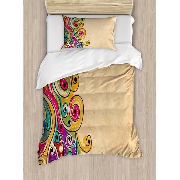 Tribal Traditional African Folk Art Pattern with Hand Drawn Spiral Colorful Forms Image Duvet Set by East Urban Home