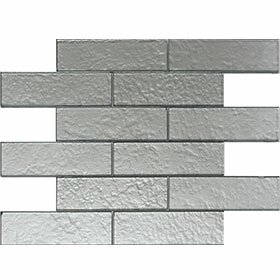 Cartagena 2 x 6 Glass Field Tile in Glossy Silver by Vetromani