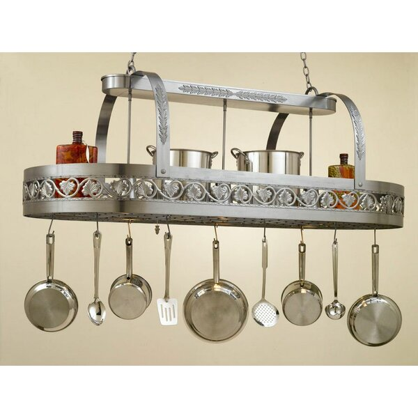 Leaf Rounded Hanging Pot Rack with 3 Lights by Hi-Lite