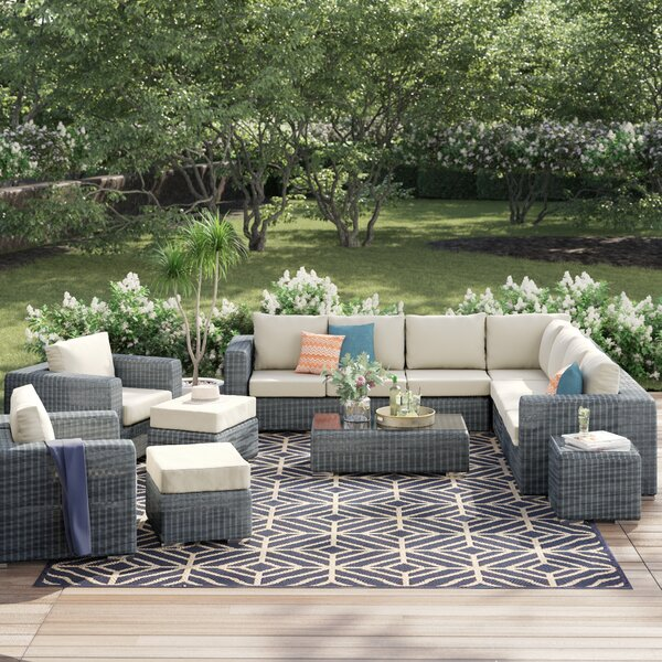 Keiran 11 Piece Deep Sunbrella Sectional Set with Cushions by Brayden Studio