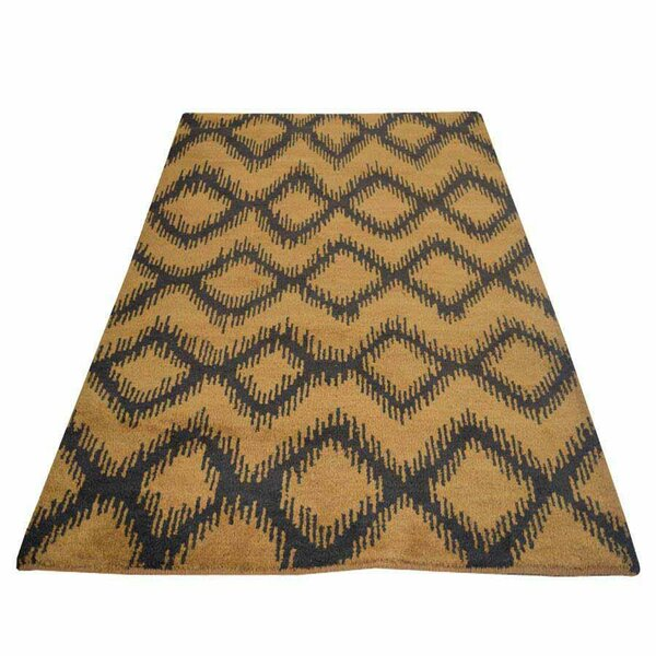 Rocky Hand-Knotted Wool Gold/Charcoal Area Rug by Bloomsbury Market
