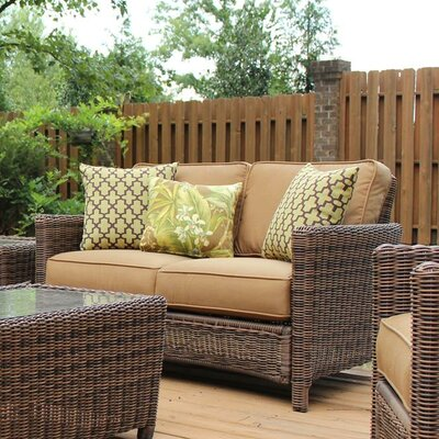 Younkin Loveseat with Cushions Bay Isle Home Color: Pool