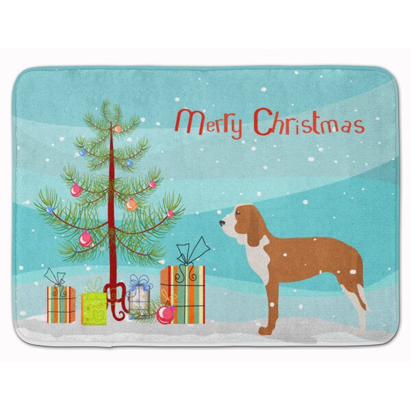 Spanish Hound Merry Christmas Tree Memory Foam Bath Rug by East Urban Home
