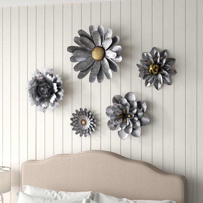 5 Piece Galvanized Metal Flower Hanging Wall Décor Set