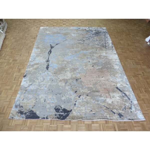 One-of-a-Kind Padang Sidempuan Modern Hand-Knotted Wool Sky Blue/Gray Area Rug by Bloomsbury Market