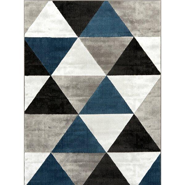 Ruark Mid-Century Modern Retro Shapes Blue/Gray Geometric Area Rug by Wrought Studio