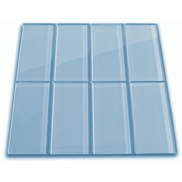 Wind 3 x 6 Glass Mosaic Tile in Sky Blue by CNK Tile