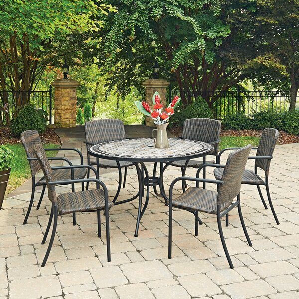 Marble Top Round 7 Piece Dining Set by Home Styles