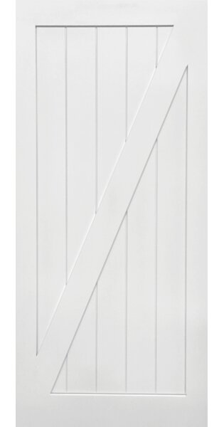 Stile/Rail Z Planked Manufactured Wood 2 Panel White Interior Barn Door by Verona Home Design