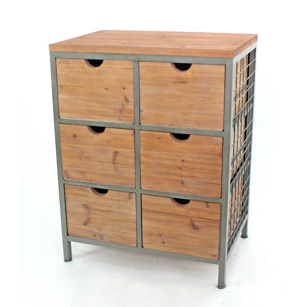 Lower West Side Metal Framed Wooden 6 Drawers Accent Chest