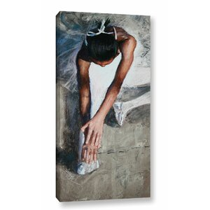 Stretching Ballerina Painting Print on Wrapped Canvas by Latitude Run