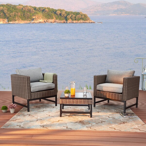 Rayville 3 Piece Rattan Seating Group with Cushions by Ebern Designs