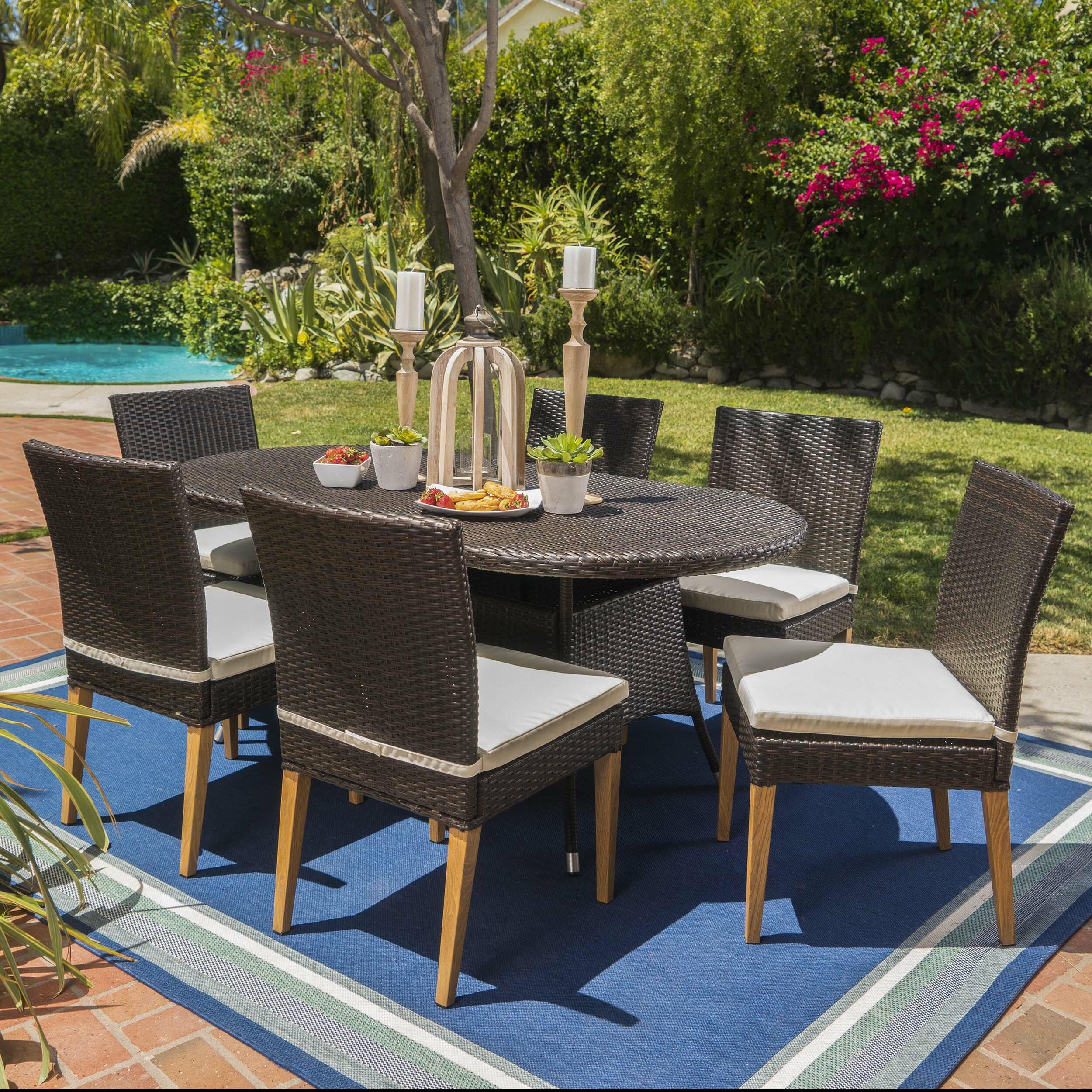 Latitude Run Saurabh Contemporary Outdoor 7 Piece Dining Set With Cushions  | Wayfair