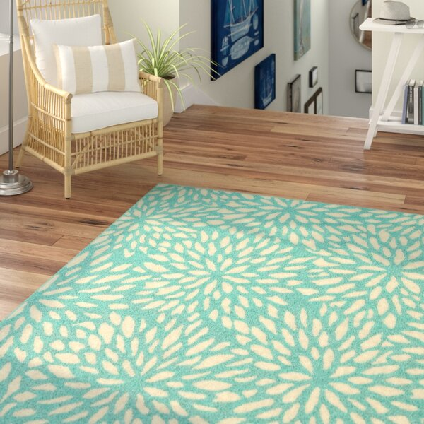 Kailani Contemporary Aqua Blue Indoor/Outdoor Area Rug By Beachcrest Home