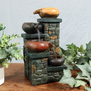 Fiberglass Tiered Pitchers On Brick Steps Tabletop Fountain With Light