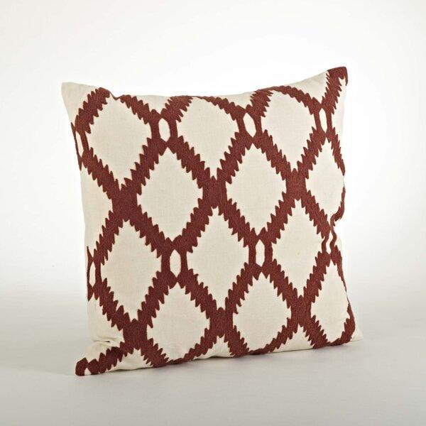 Dakota Ari Embroidered Cotton Throw Pillow by Saro