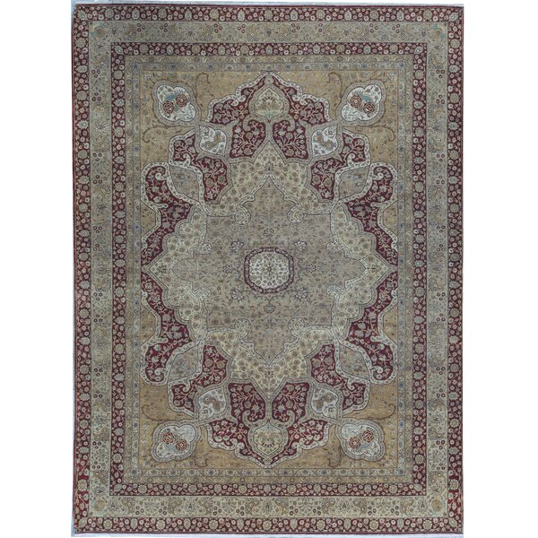 One-of-a-Kind Hand-Knotted Tabriz Beige 10'3 x 13'9 Wool Area Rug
