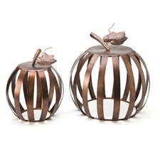 2 Piece Convertible Metal Pumpkin Stool Set by VivaTerra