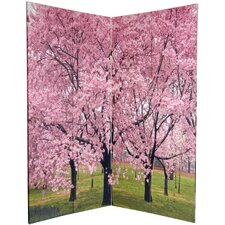 72 x 48 Double Sided Cherry Blossoms 4 Panel Room Divider by Oriental Furniture