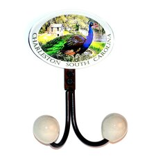 Charleston Peacock Glass Inlay Double Hook by Charleston Knob Company