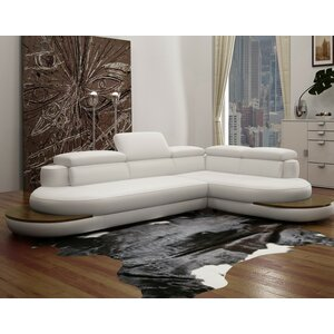 Coalpit Heath Modern Wood Frame Leather Sectional by Orren Ellis