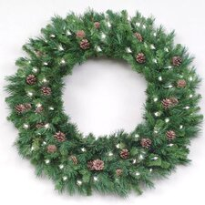 """144"""" Lighted Artificial Cheyenne Pine with Cones Cristmas Wreath"""