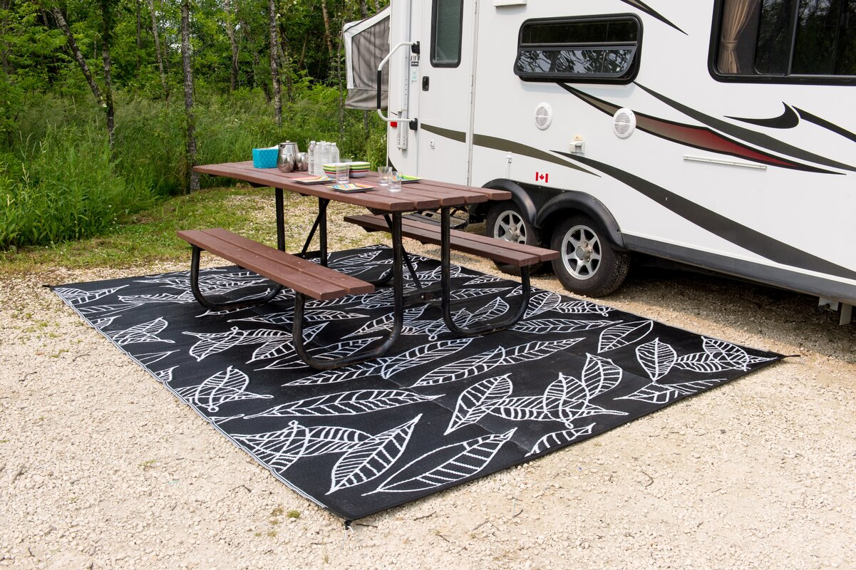 B B Begonia Arctic Reversible Rv Camping Patio Mat Black