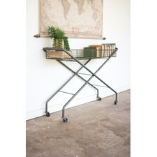 Parker Rolling Metal Basket Console Table by Williston Forge