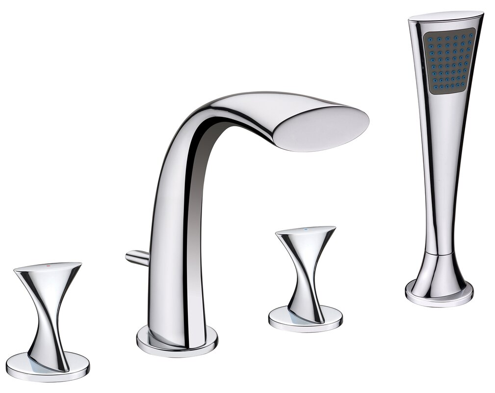 ultra faucets twist two handle deck mount roman tub faucet with  - defaultname