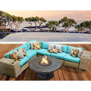 Cape Cod Outdoor Wicker 9 Piece Fire Pit Seating Group With Cushion
