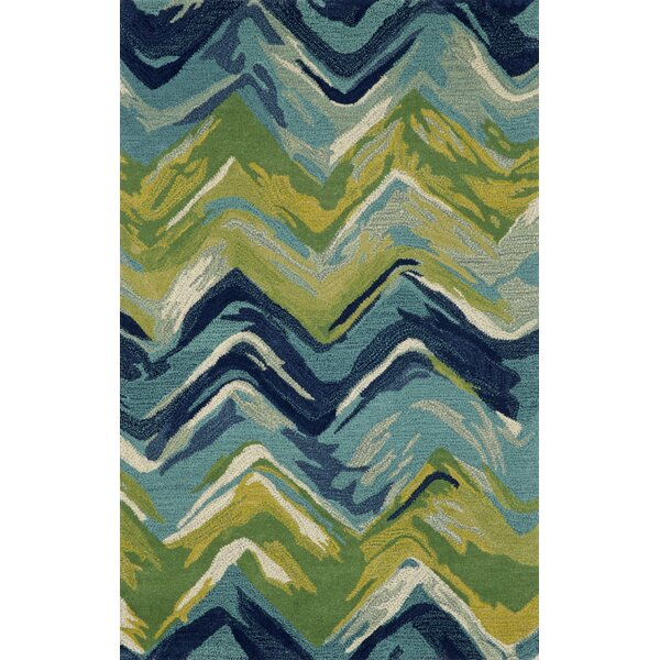 Brayden Studio Terrill Chevron Blue/Green Area Rug U0026 Reviews | Wayfair