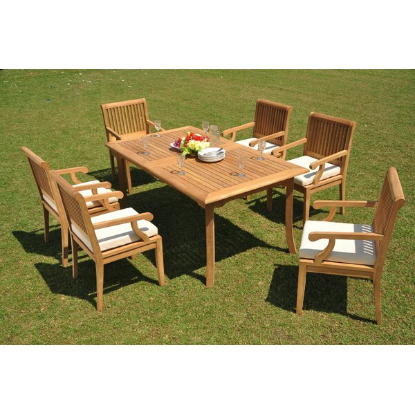 Devante 7 Piece Teak Dining Set by Rosecliff Heights