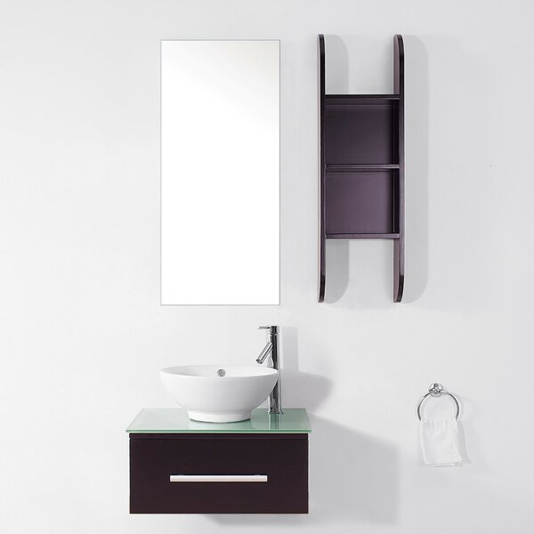 Nate 24 Single Bathroom Vanity Set with Tempered Glass Top and Mirror by Orren Ellis