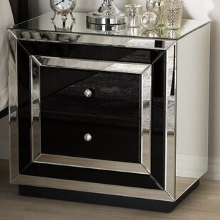 Kaplan Hollywood Regency Glamour Style Mirrored 2 Drawer Nightstand by Mercer41