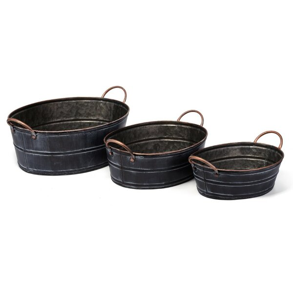 Distressed Accent 3-Piece Wrought Iron Pot Planter Set by Benzara