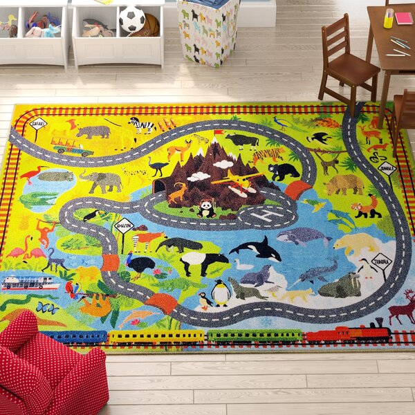 Weranna Animal Safari Road Map Educational Learning Yellow/Blue Indoor/Outdoor Area Rug by Zoomie Kids