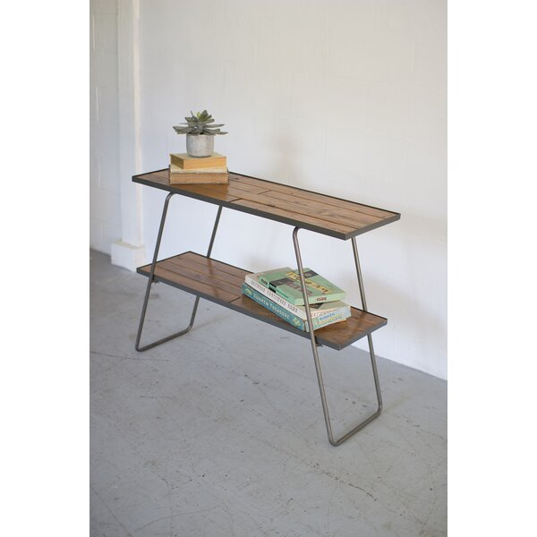32.5 H x 43 W Two Tiered Wood and Metal Shelf by Kalalou