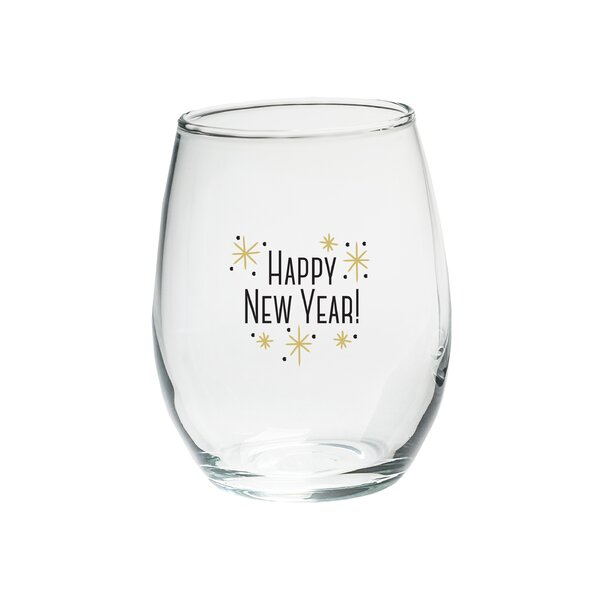 Happy New Year! 15 Oz. Stemless Wine Glass (Set of 4) by Kate Aspen