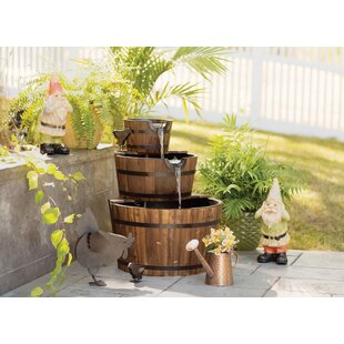 Wood Barrel Trio Fountain