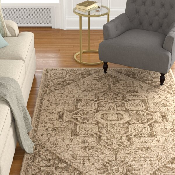 Burnell Power Loomed Beige/Cream Area Rug by Darby Home Co