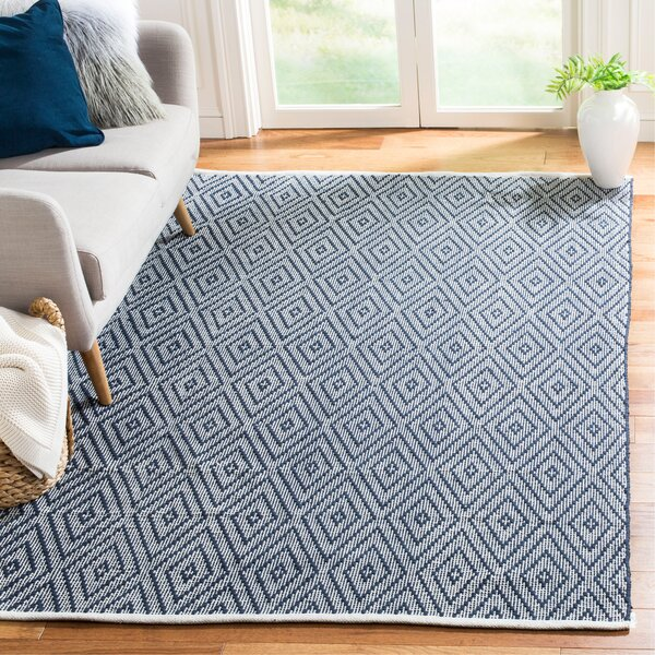 Adrien Place Hand-Woven Navy & Ivory Area Rug by Highland Dunes