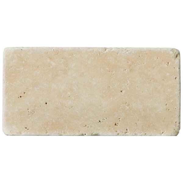 Travertine 3 x 6 Subway Tile in Unfilled Tumbled Fontane Ivory Classic by Emser Tile
