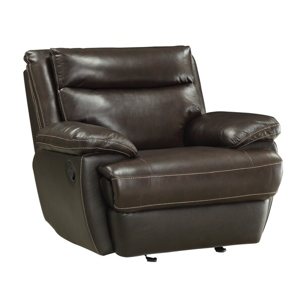 Hughes Leather Manual Glider Recliner [Red Barrel Studio]